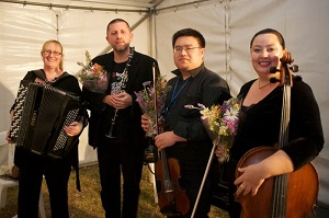 Accordionist Elizabeth Jones,  Justin Screen (clarinet), Martin Lee (violin), and Rachel Whealy (cello) after their premiere performance of The Kate Kelly Song Cycle in Forbes.