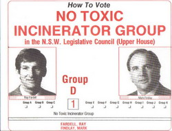 How To Vote leaflet distributed by members of the single issue party, No Toxic Incinerator Group, at the 1991 NSW State Election. The two candidates were Ray Fardell, President of the Bogan Gate Concerned Citizen's Group, and Mark Findlay, Vice-President.