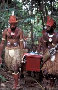 Young warriors from Eddie Mabo's Piadram clan carry his casket through the bamboo forest on Mer. Photo by Merrill Findlay.