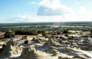The lake bed from the eroded lunette after rain. Photo by Merrill Findlay, 1990.