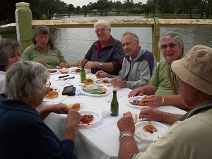 Forbes Country Music Club 'Brunchers': Jan Shaw, Marrion Noakes, Keith Noakes, Kathy and Ray Lasserre, Joan West, and Joan and Bill Stibbard. Photo by Charmaine Pout, Forbes, 19 March 2011.