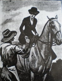 Postcard of Kate Kelly on her horse Pathfinder after winning the Wagga Cup, probably in the early 1880s, with her brother Jim. Courtesy Forbes Historical Society.