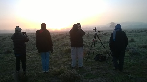 Waiting in a heavy frost for the sun to rise over the Seven Sisters Ridge, Yarrabandai, on the shortest day of 2015. Photo by Merrill Findlay.