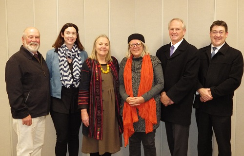 From left: Mayor of Parkes Shire, Cr Ken Keith OAM; Anna Wyllie, Economic & Business Development Manager; Christine McMillan, Arts OutWest & Big Skies Project; Merrill Findlay, Big Skies Project; Kent Boyd, General Manager; and Finn, Director Technology & Corporate Services, at a meeting to discuss the Big Skies project, 3 July 2015.