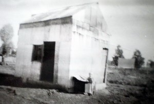 An intriguing photo of uncertain provenance from the Mathias Collection labelled 'Kate Kelly's House'. We can only speculate now about where or what this 'house' was. One suggestion is that it was an old miner's shack on Lawler Street behind the Foster's family home at No. 1 Browne Street. Kate Kelly is also reported to have lived in other places, however. At the time of her disappearance she may have been living as a single parent with her children, including a baby, at the corner of Browne and Sherriff Streets (Forbes and Parkes Gazette 1898).  Photo courtesy Forbes & District Historical Society.