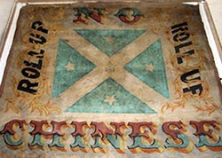The notorious 'Roll Up' banner which was unfurled at Lambing Flat in the early 1860s when European mobs attacked the Chinese diggers on the gold fields.