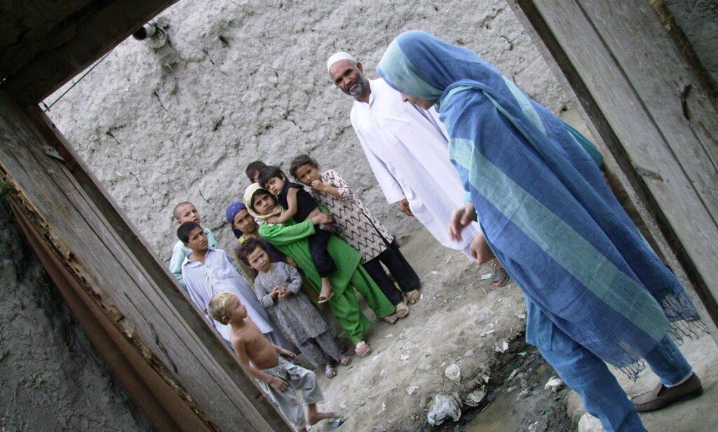 Ariana at work at the Khurasan Refugee Camp near Peshawar, North Western Pakistran, in 2006. Photo by Merrill Findlay.